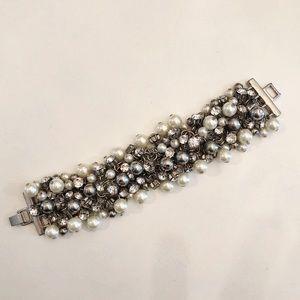 J Crew Sterling Silver Pearl & Crystal Bracelet